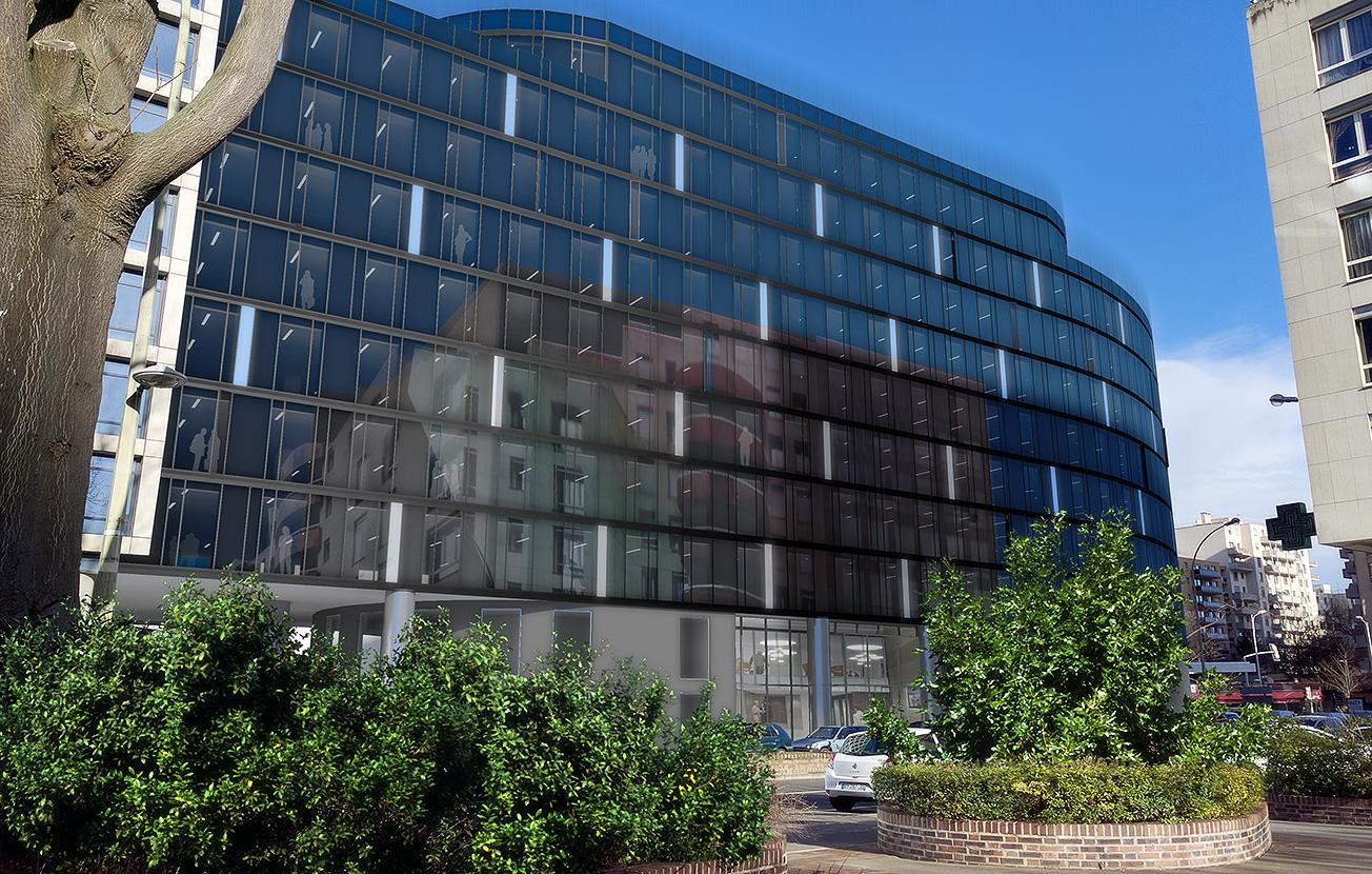 Basselier jarzaguet architectes immeuble de bureaux axe for Immeuble bureaux hqe
